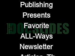 Frandsen Publishing Presents Favorite ALL-Ways Newsletter Articles  Th