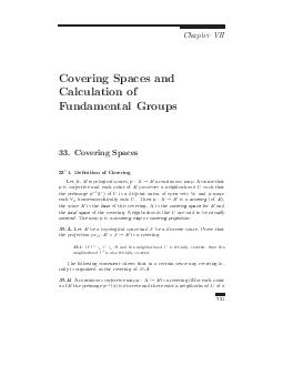 Chapter VII Covering Spaces and Calculation of Fundamental Groups