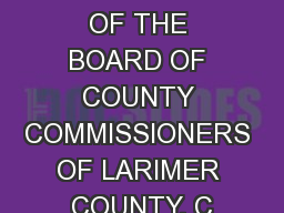 AN ORDINANCE OF THE BOARD OF COUNTY COMMISSIONERS OF LARIMER COUNTY, C