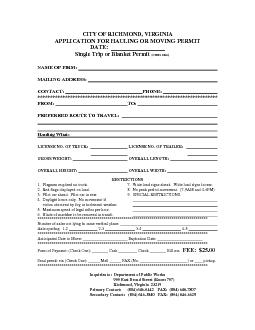 CITY OF RICHMOND, VIRGINIA APPLICATION FOR HAULING OR MOVING PERMIT DA