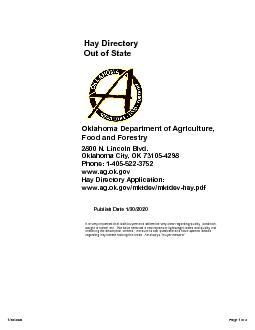 Hay Directory Out of StateOklahoma Department of Agriculture, Food and