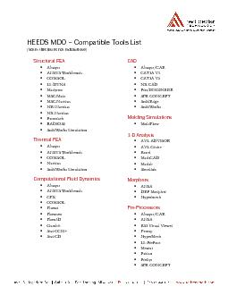 HEEDS MDO Compatible Tools List(Note: this list is not exhaustive)Stru