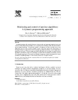 Articial Intelligence    Monitoring and control of anytime algorithms A dynamic programming approach Eric A