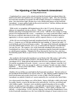 The Hijacking of the Fourteenth Amendment  By Doug Hammerstrom    Cons