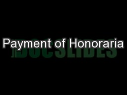 Payment of Honoraria