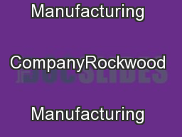 81Rockwood Manufacturing CompanyRockwood Manufacturing Company ... PowerPoint PPT Presentation