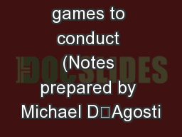 Aussie Hoops games to conduct (Notes prepared by Michael D'Agosti