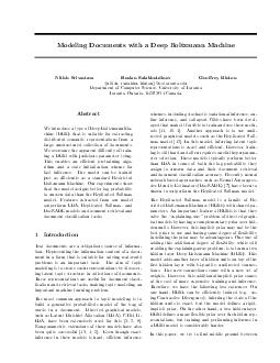 Modeling Documents with a Deep Boltzmann Machine Nitish Srivastava Ruslan Salakhutdinov nitish rsalakhu hinton cs