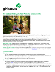 Horseback Riding: Safety Activity Checkpoints