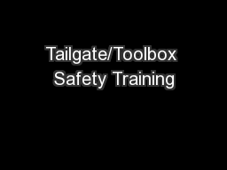 Tailgate/Toolbox Safety Training