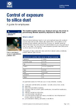 Health and Safety Executive Control of exposure to silica dust A guide for employees Page  of  This leaflet explains what your employer and you should do to prevent lung disease caused by exposure to