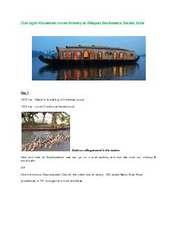 One night Houseboat cruise Itinerary at Alleppey Backwaters, Kerala, I