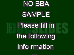 S P JAIN BBA ENTRANCE TEST SAMPLE PAPER Time  minutes TEST BOOKLET NO BBA SAMPLE Please fill in the following info rmation with a ballpoint pen STUDENT NAME S P JAINS BBA ENTRANCE TEST NUMBER  Please PowerPoint PPT Presentation