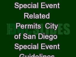 Special Event Guidelines Special Event Related Permits  City of San Diego  Special Event Guidelines OSE