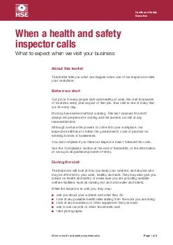 Health and Safety Executive Page  of  What to expect when a health and safety inspector calls A brief guide for businesses employees and their representatives ERXWWKLVOHDHW OPZSLHLPZPULUKLKMVYOVZLPUIZ