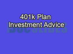 401k Plan Investment Advice