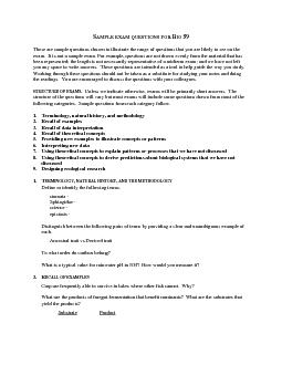 SAMPLE EXAM QUESTIONS FOR BIO 59These are sample questions chosen to i