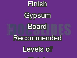 GA GYPSUM ASSOCIATION Recommended Levels of Finish Gypsum Board Recommended Levels of Finish Gypsum Board Recommended Levels of Finish Gypsum Board Recommended Levels of Finish Gypsum Board The Finish