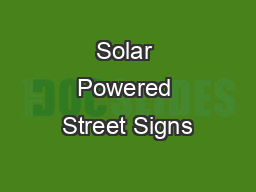 Solar Powered Street Signs PDF document - DocSlides