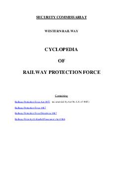 SECURITY COMMISSARIAT WESTERN RAILWAY CYCLOPEDIA OF RAILWAY PROTECTION FORCE Containing Railway Protection Force Act  as amended by Act No