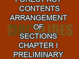 THE INDIAN FOREST ACT  CONTENTS ARRANGEMENT OF SECTIONS CHAPTER I PRELIMINARY