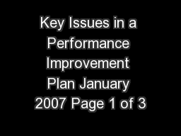 Key Issues in a Performance Improvement Plan January 2007 Page 1 of 3