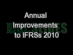 Annual Improvements to IFRSs 2010