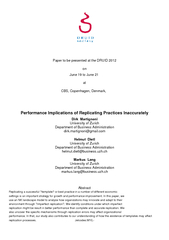 Performance Implications of Replicating Practices Inaccurately ...