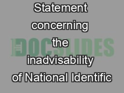 IFIP-TC9 Statement concerning the inadvisability of National Identific