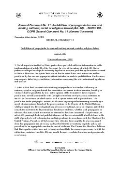 General Comment No. 11: Prohibition of propaganda for war and inciting