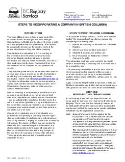 Rev. 2013 / 11 / 13STEPS TO INCORPORATING A COMPANY IN BRITISH COLUMBI
