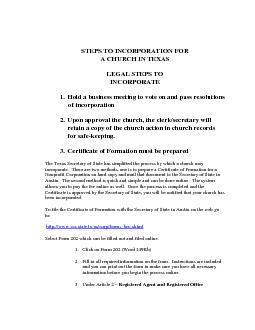 STEPS TO INCORPORATION FOR