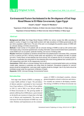 Environmental Factors Incriminated in the Development of End StageRena