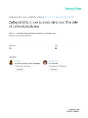 Culturaldifferencesinindecisiveness:Theroleofna PowerPoint PPT Presentation