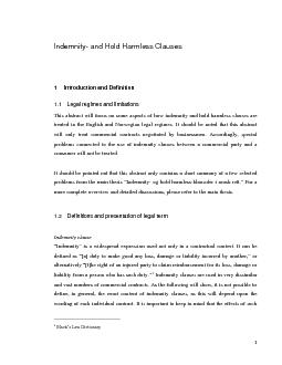 Indemnity- and Hold Harmless Clauses act will focus on some aspects of
