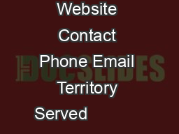 Company Website Contact Phone Email Territory Served