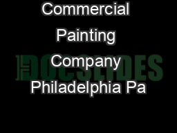 Commercial Painting Company Philadelphia Pa