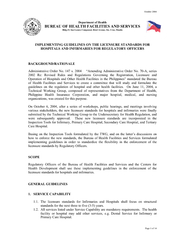 October 2004 Page 1 of 14   Department of Health BUREAU OF HEALTH FACI