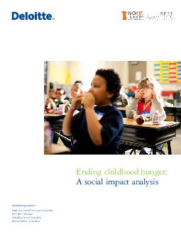 Contributing authors Robin AugustineThottungal Consultant John Kern Manager Jackie Key Senior Consultant Becca Sherman Consultant Ending childhood hunger A social impact analysis As used in this docum