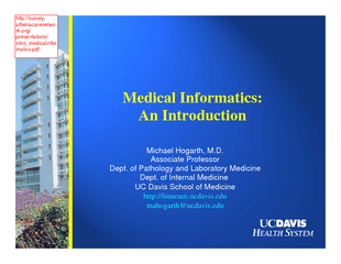 Shortliffeet al. Medical Applications in Healthcare. Addison Wesley, 1