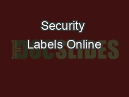 Security Labels Online