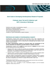 Short Guide to Developing Interdisciplinary Research Proposals Profess