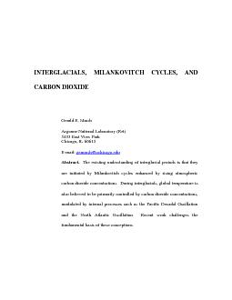 INTERGLACIALS, MILANKOVITCH CYCLES, AND