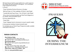 We hope that you find this prayer leaflet to be a useful support to yo