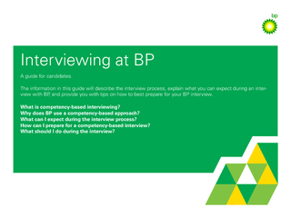 Interviewing at BP A guide for candidates.The information in this guid