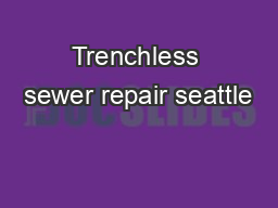 Trenchless sewer repair seattle