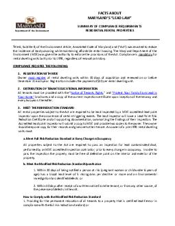 DUWLQDOOH       LPPP  FACTS ABOUT  SUMMARY OF COMPLIANCE REQUIREMENTS RESIDENTIAL RENTAL PROPERTIES Title  Subtitle  of the Environment Article Annotated Code of Maryland  and  FW was enacte