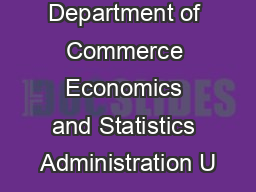 US Department of Commerce Economics and Statistics Administration U