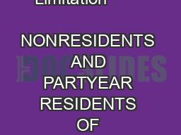 Income        LIMITATIONS General Limitation         Income Limitation           NONRESIDENTS AND PARTYEAR RESIDENTS OF COLORADO       Definition                                             POLICI