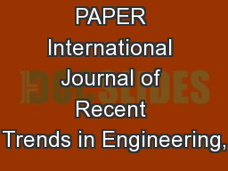 RESEARCH PAPER International Journal of Recent Trends in Engineering, PowerPoint PPT Presentation